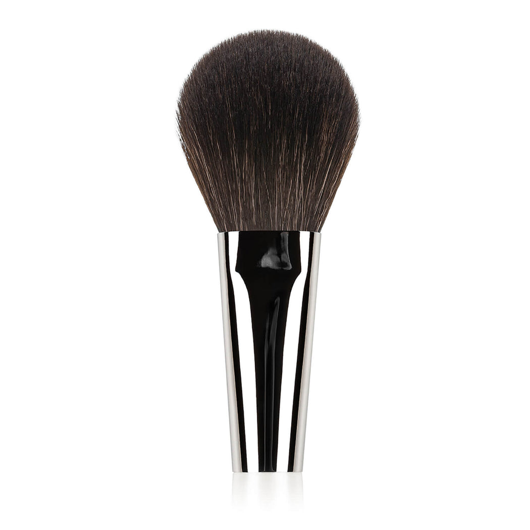 N502 Nastelle Large Powder Brush synthetic squirrel imitation fibers pearl white handle close-up