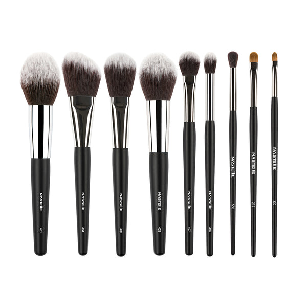 Synthetic Black Makeup Brush Set 9pcs, SN09