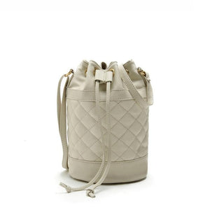 Designer Quilted Leather Drawstring Shoulder Handbag, Leather Straps