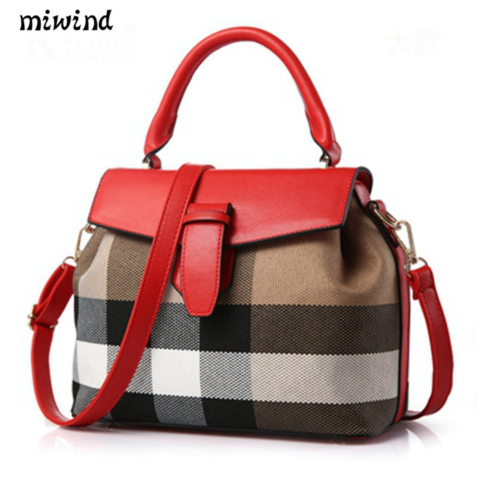Designer Satchel Handbag | Red Leather, Designer Plaid, Leather & Metal Buckle, Single Strap