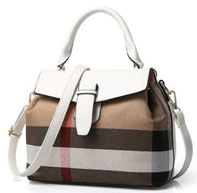 Designer Shoulder Handbag | Black Leather, Designer Plaid, Leather & Metal Buckle, Single Strap