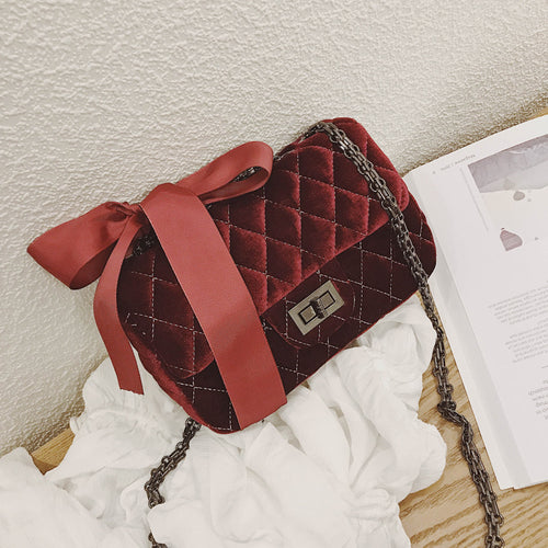 Designer Quilted Red Velvet Shoulder Messenger Handbag with Matching Bow & Chain