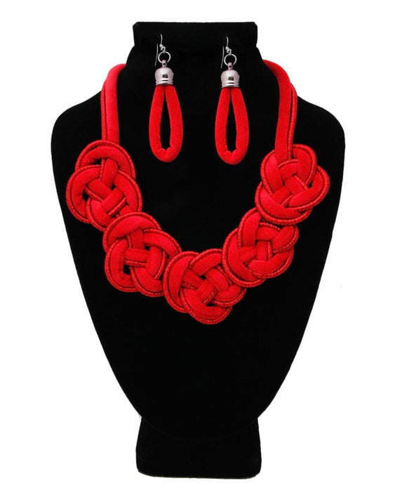 Mya Red Velvet Knotted Collar Necklace Set