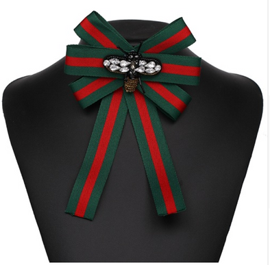 Kelly Stripe Bow Pin