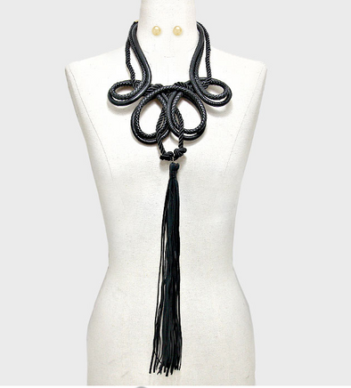 Davina Long Leather Rope Necklace