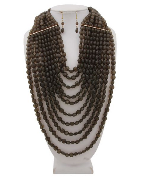 Rondell Beaded Bib Necklace