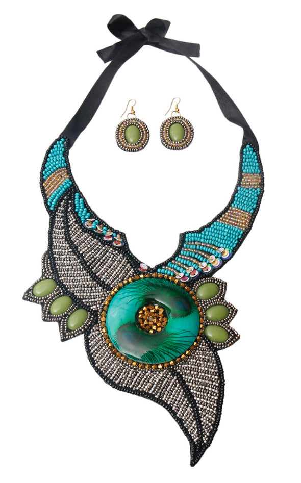 Morgan Beaded Leaf Bib Necklace Set