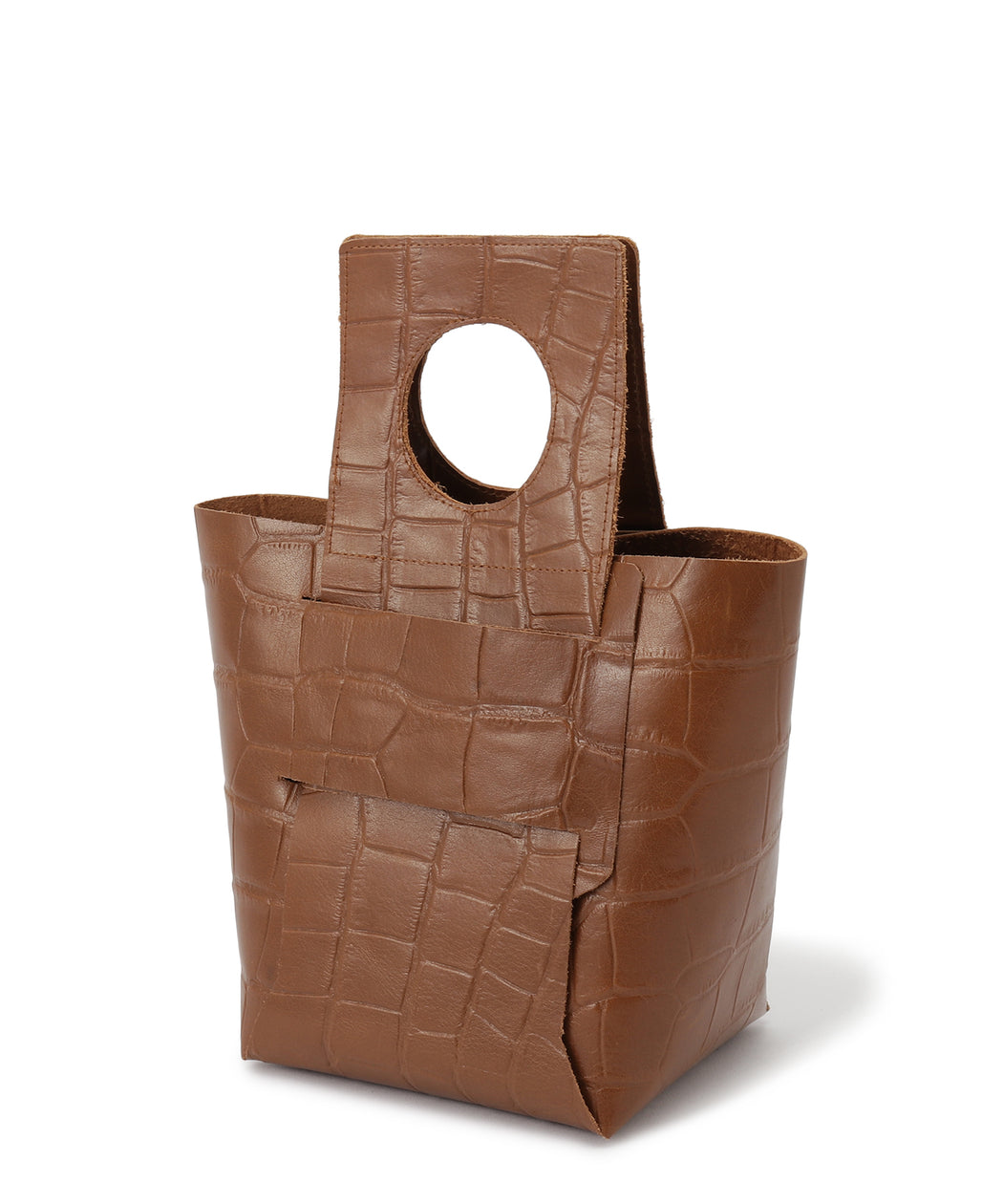 Folding bag (croc-effect leather)