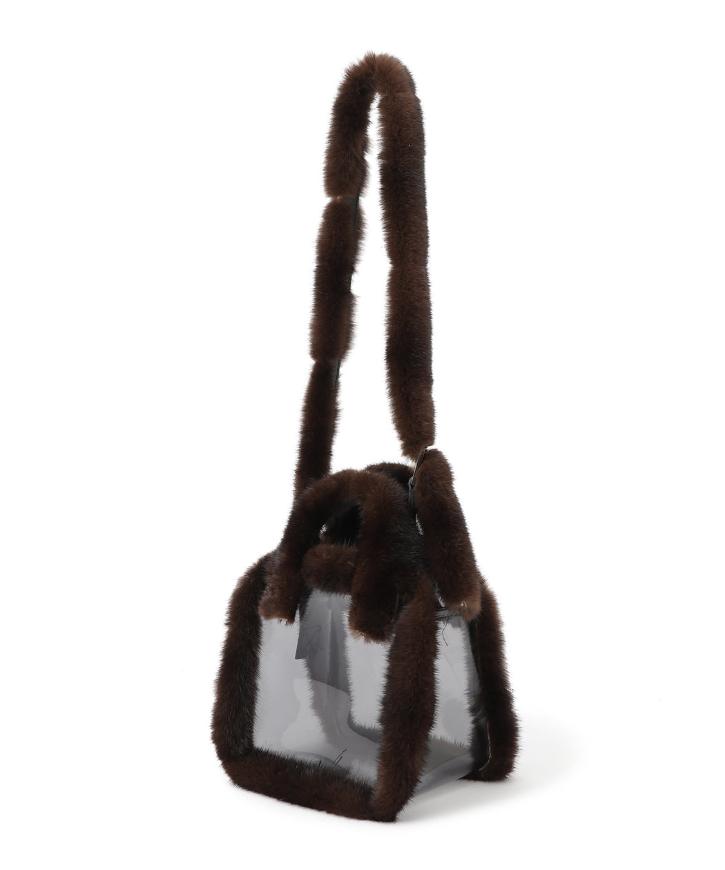 Mink-trimed pvc shoulder bag / tote