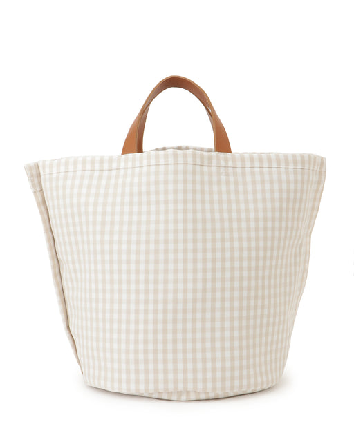 [予約][Ron Herman別注] Large leather-trimmed canvas tote (gingham)