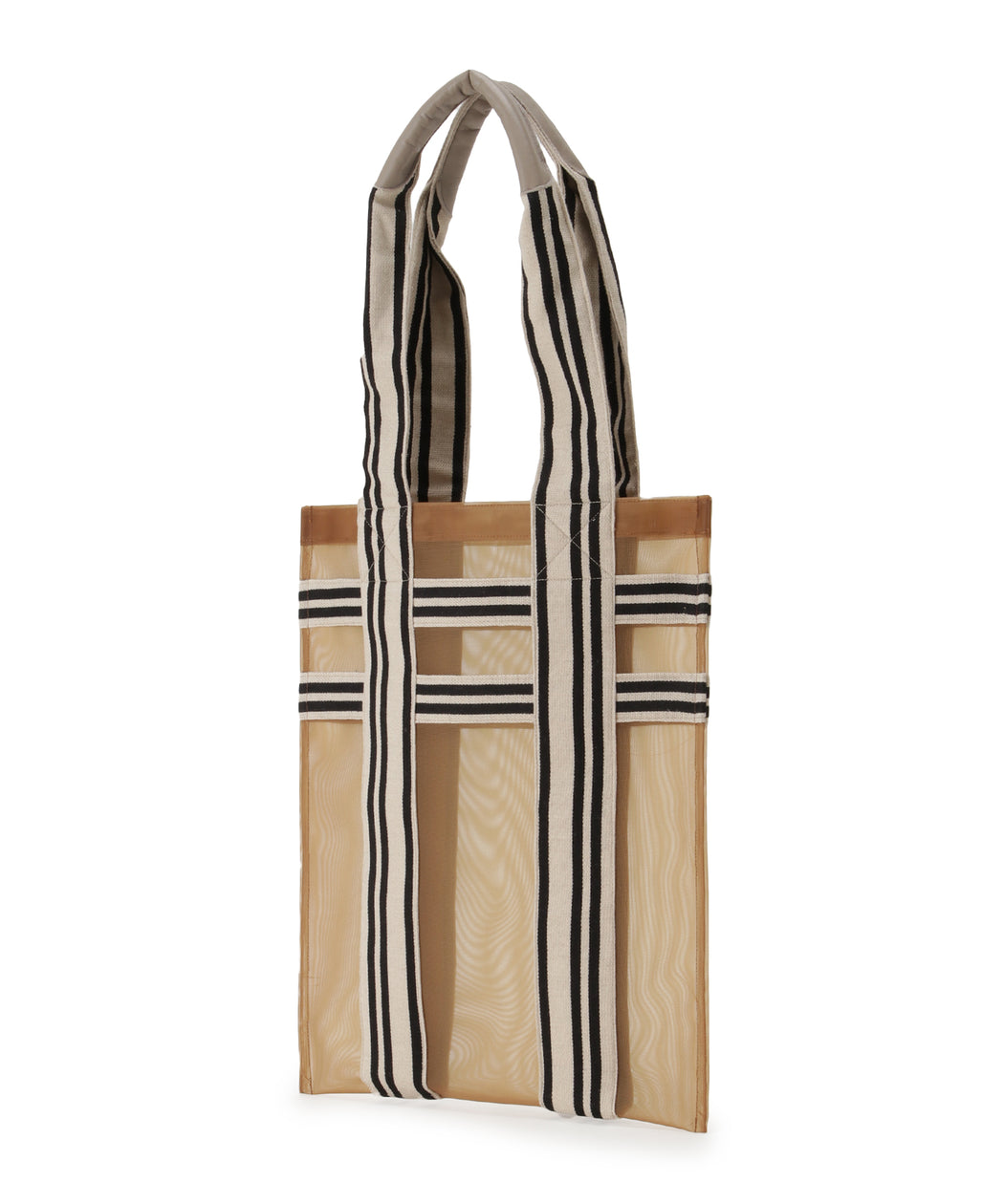 Stripe handle mesh tote