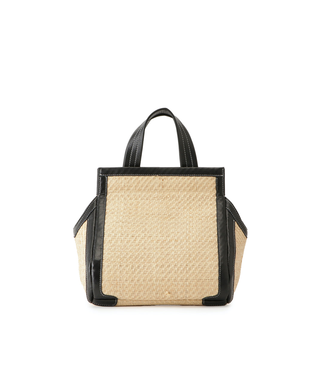 Small leather-trimmed raffia triangle tote