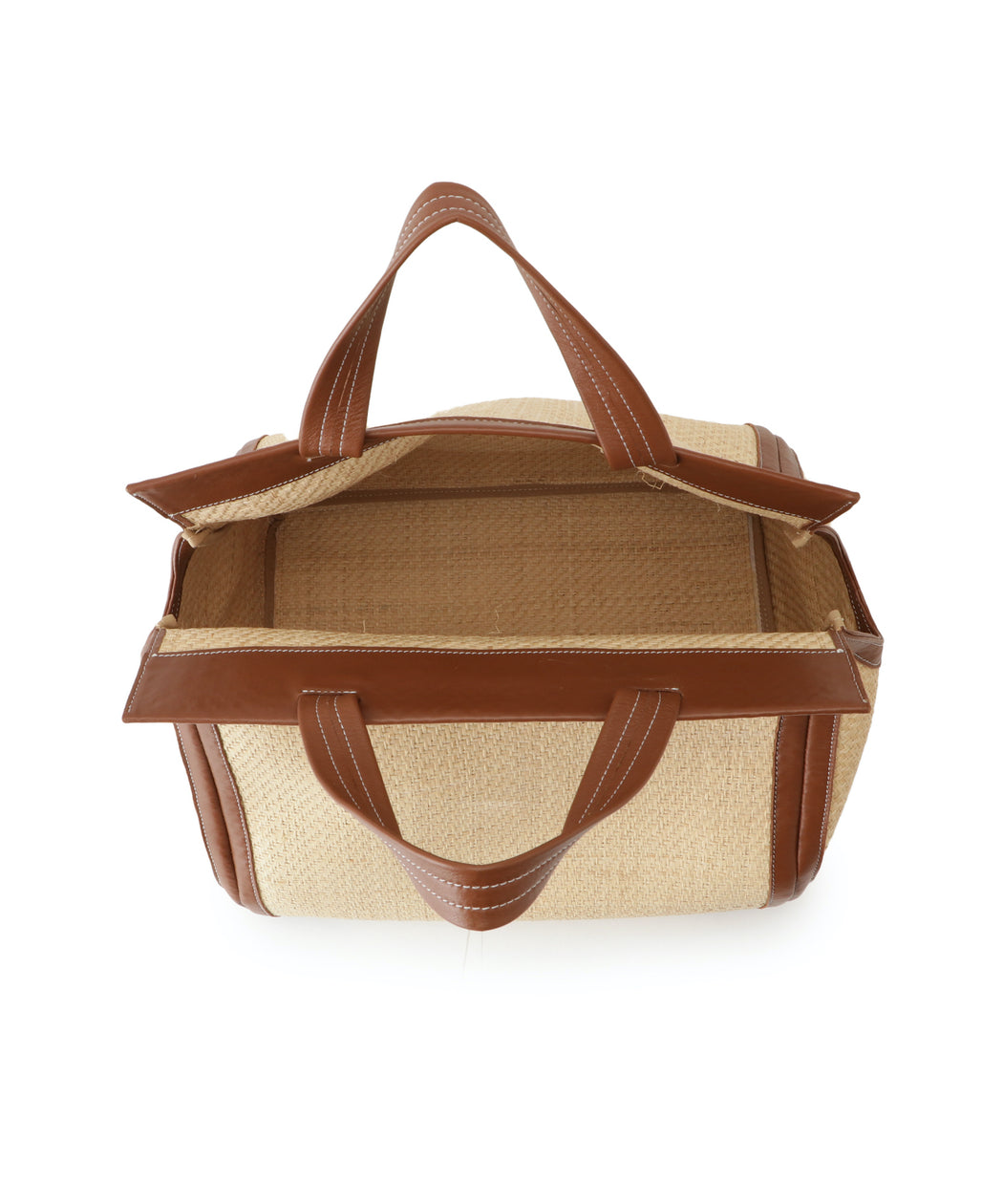 Large leather-trimmed raffia triangle tote