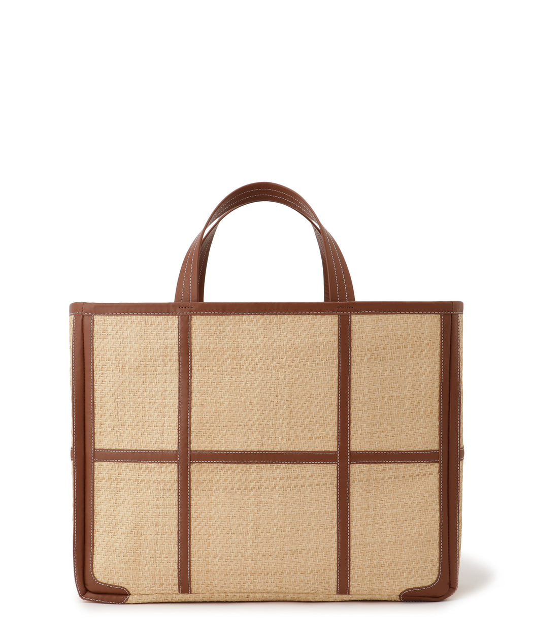 Wide leather-trimmed tote bag