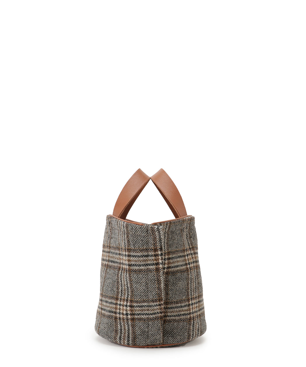Small leather-trimmed tweed bucket bag