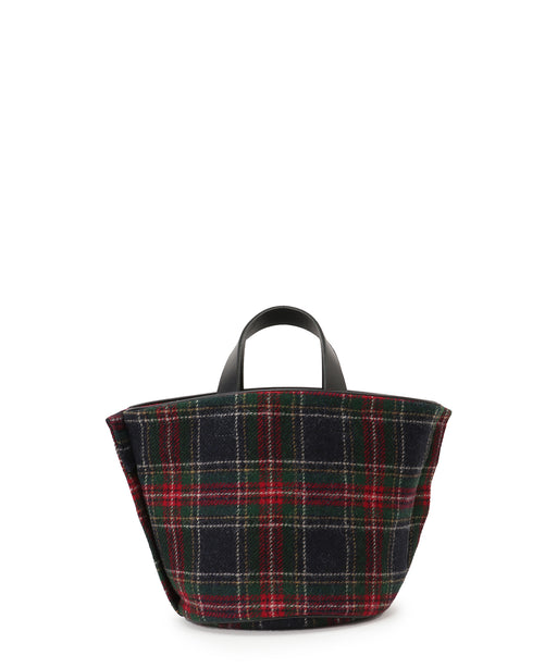 [予約] Small leather-trimmed tweed bucket bag [11月中旬発送予定]