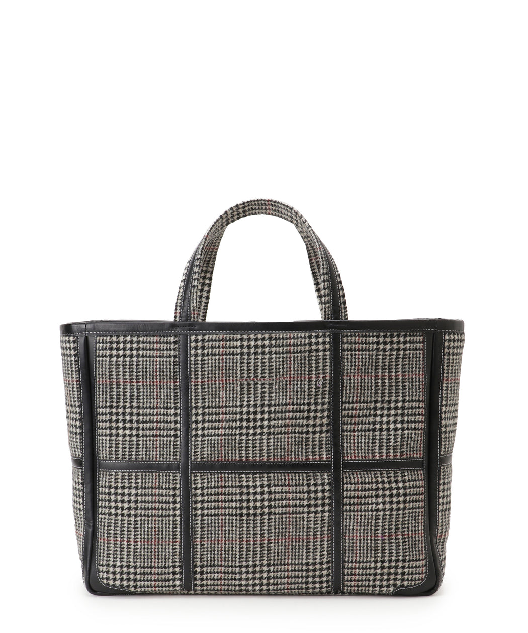 Wide leather-trimmed tweed tote