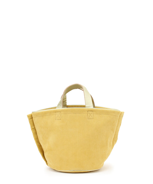 Small leather-trimmed corduroy bucket bag