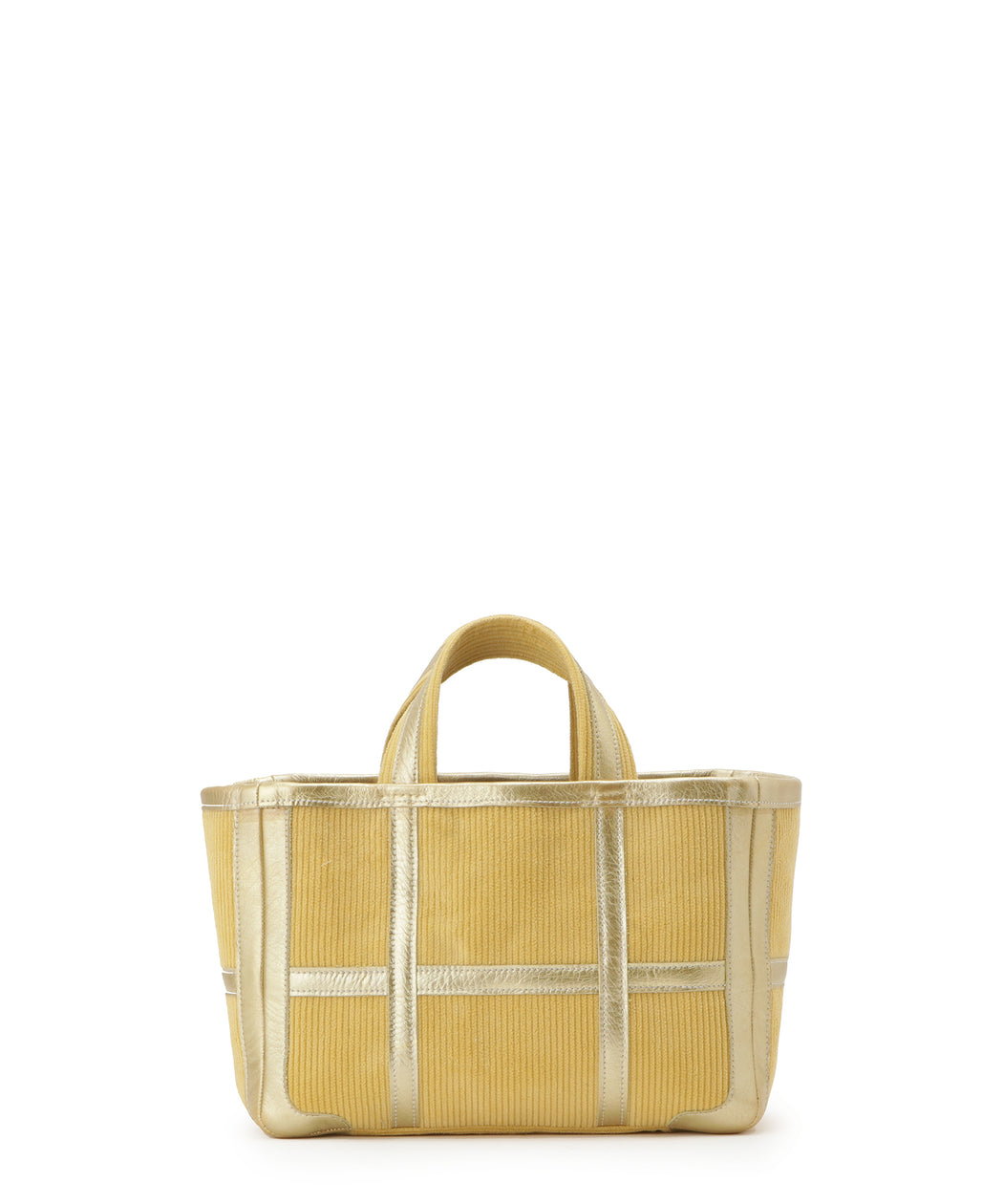 Small leather-trimmed corduroy tote