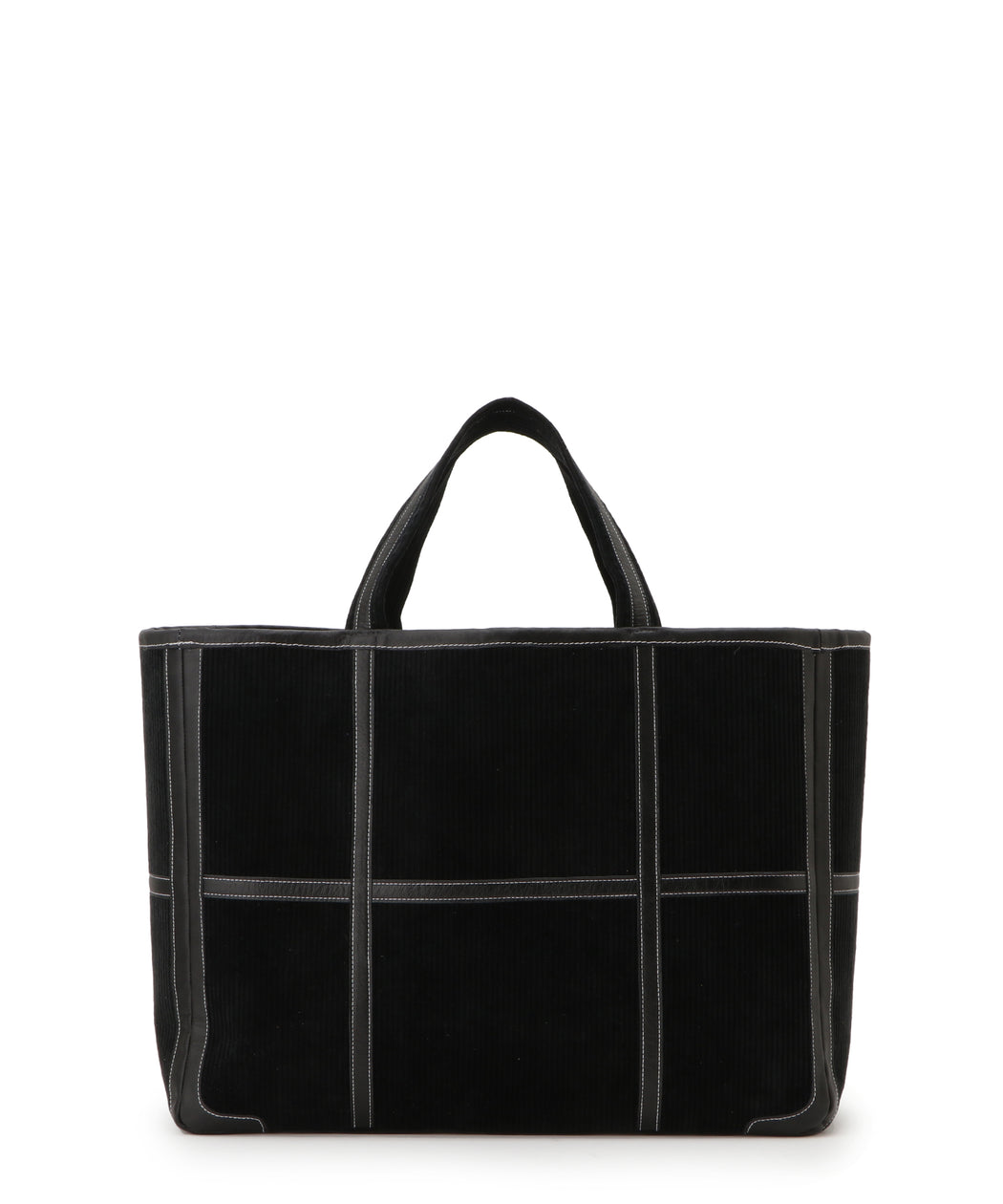 Large leather-trimmed corduroy tote