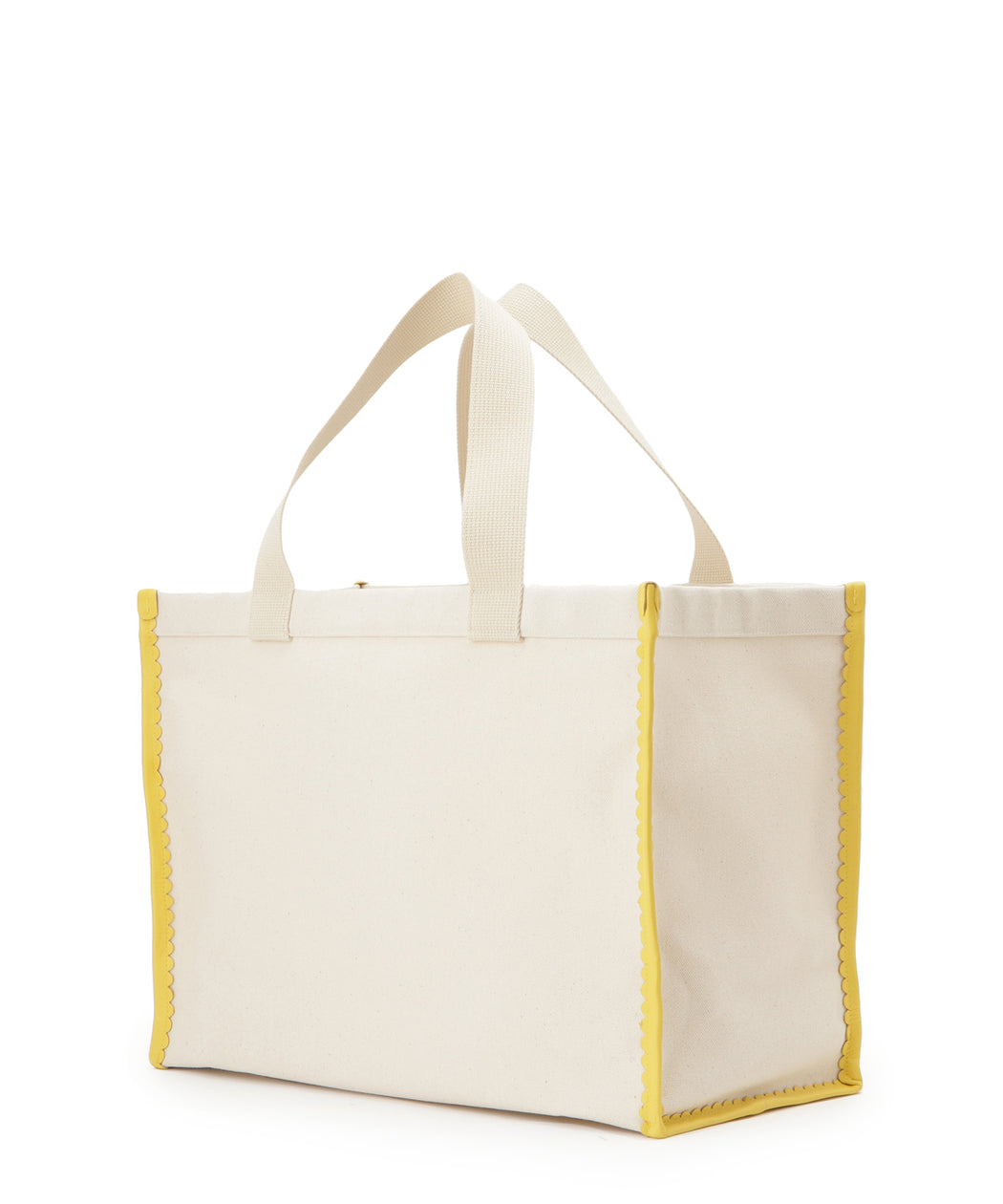 Scalapped leather canvas tote L