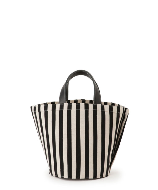 Small leather-trimmed canvas tote (stripe) Black