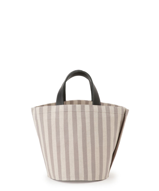Small leather-trimmed canvas tote (stripe) Gray