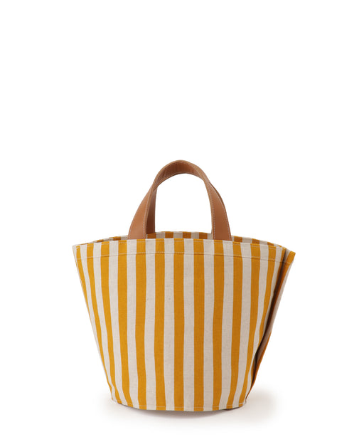 Small leather-trimmed canvas tote (stripe) Mustard