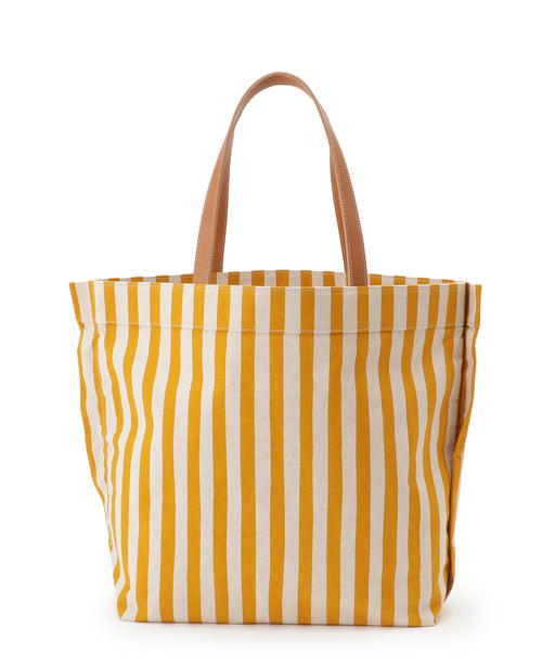 Large leather-trimmed canvas tote (stripe) Mustard