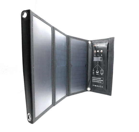 21W High Efficiency Foldable Solar Panel 2 USB Port Charger, 3 Panels