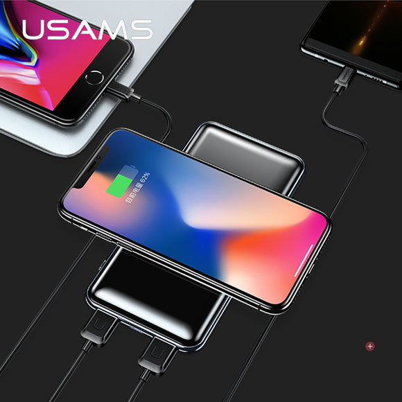 10000mah Qi Wireless Charger LED Display Power Bank Built-in Wireless Charging 5V 2A PB2 Type c micro USB Ports