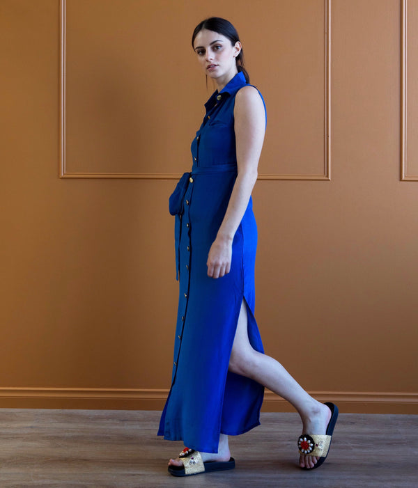 Attina - Blue plain mulberry silk shirt dress