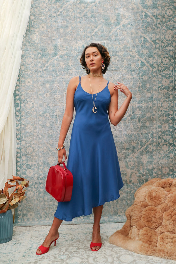 Ollie - Blue plain mulberry silk maxi dress
