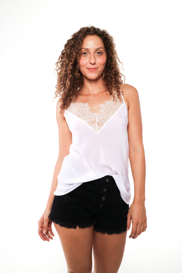 Sofia - Silk and lace camisole White