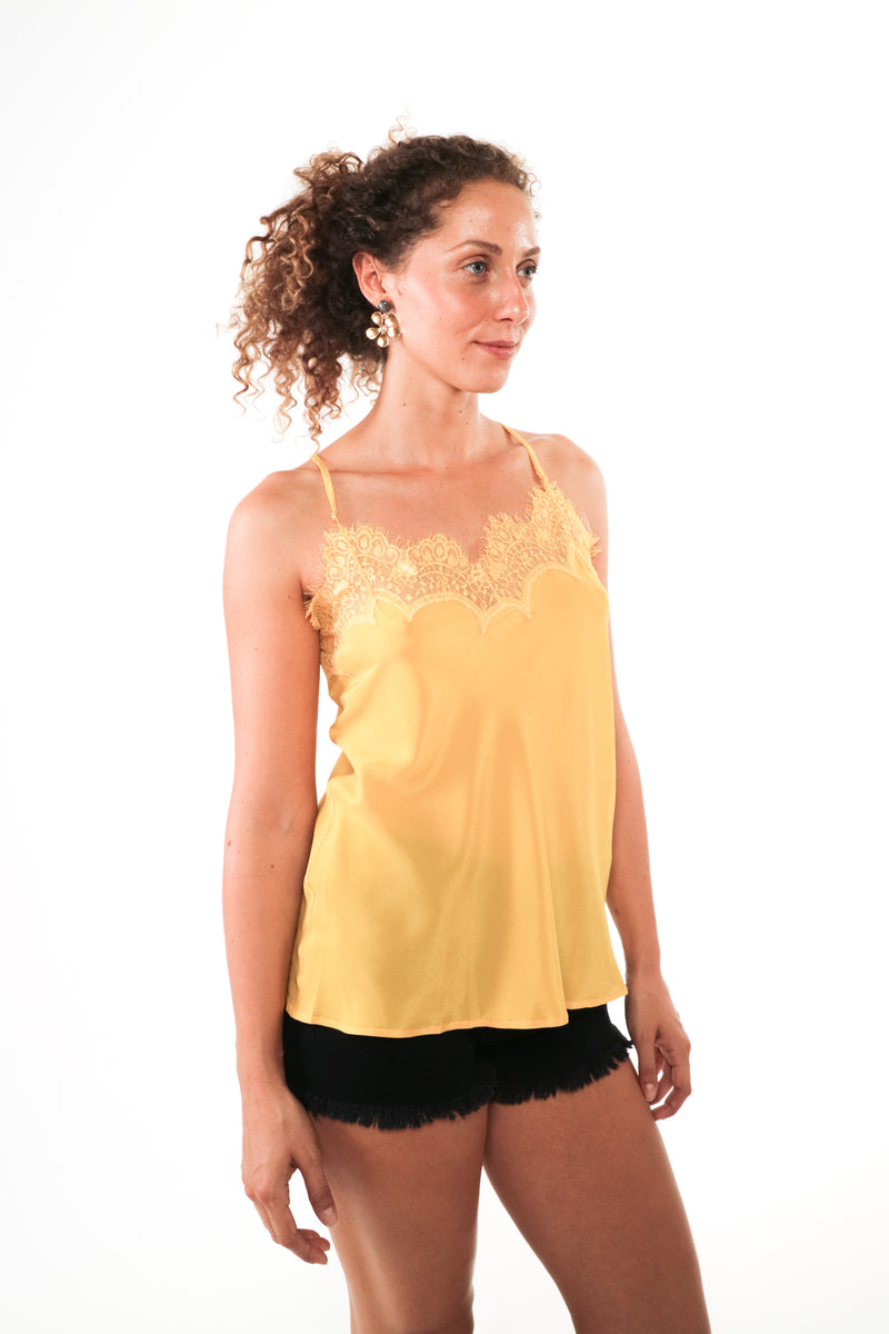 Solange - Silk and lace camisole Sulphur Yellow