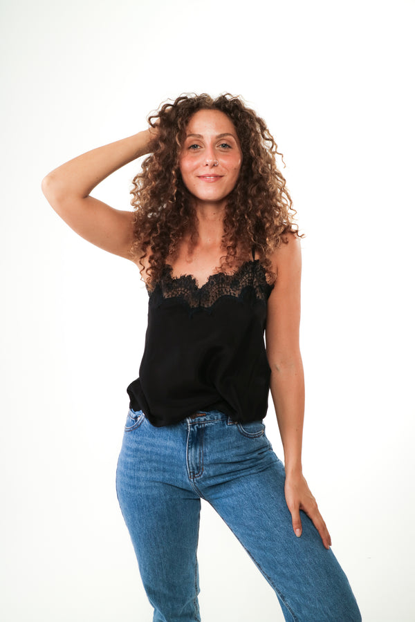 Solange - Silk and lace camisole Black