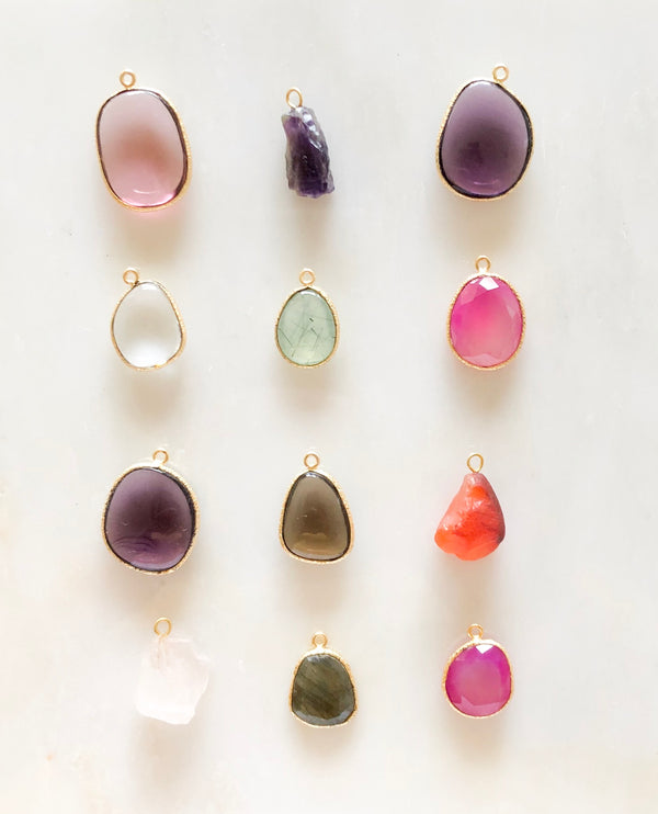 Polished gemstone charms
