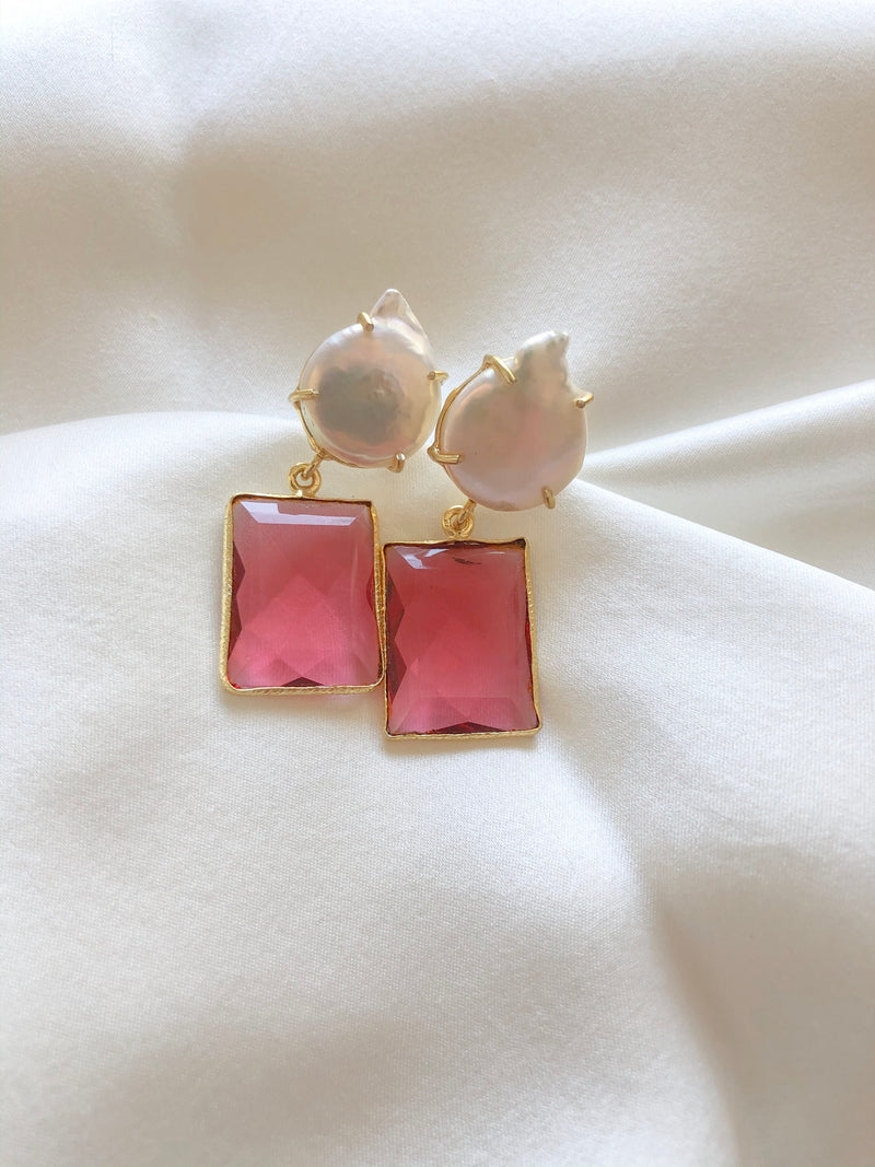Lola pearl and quartz earrings