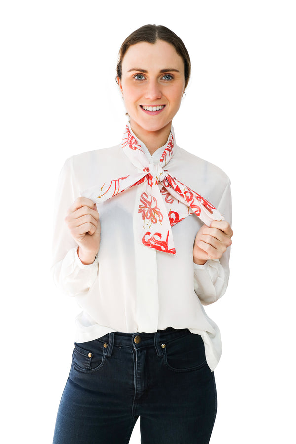 Printed bow silk shirt