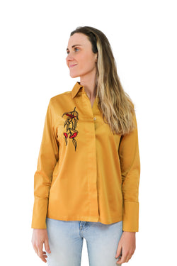 Embroidered cotton silk shirt