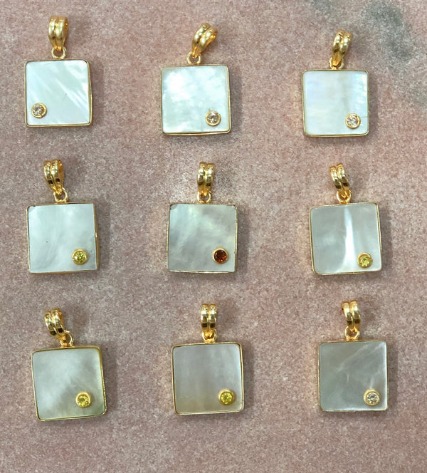 Square pearl pendants