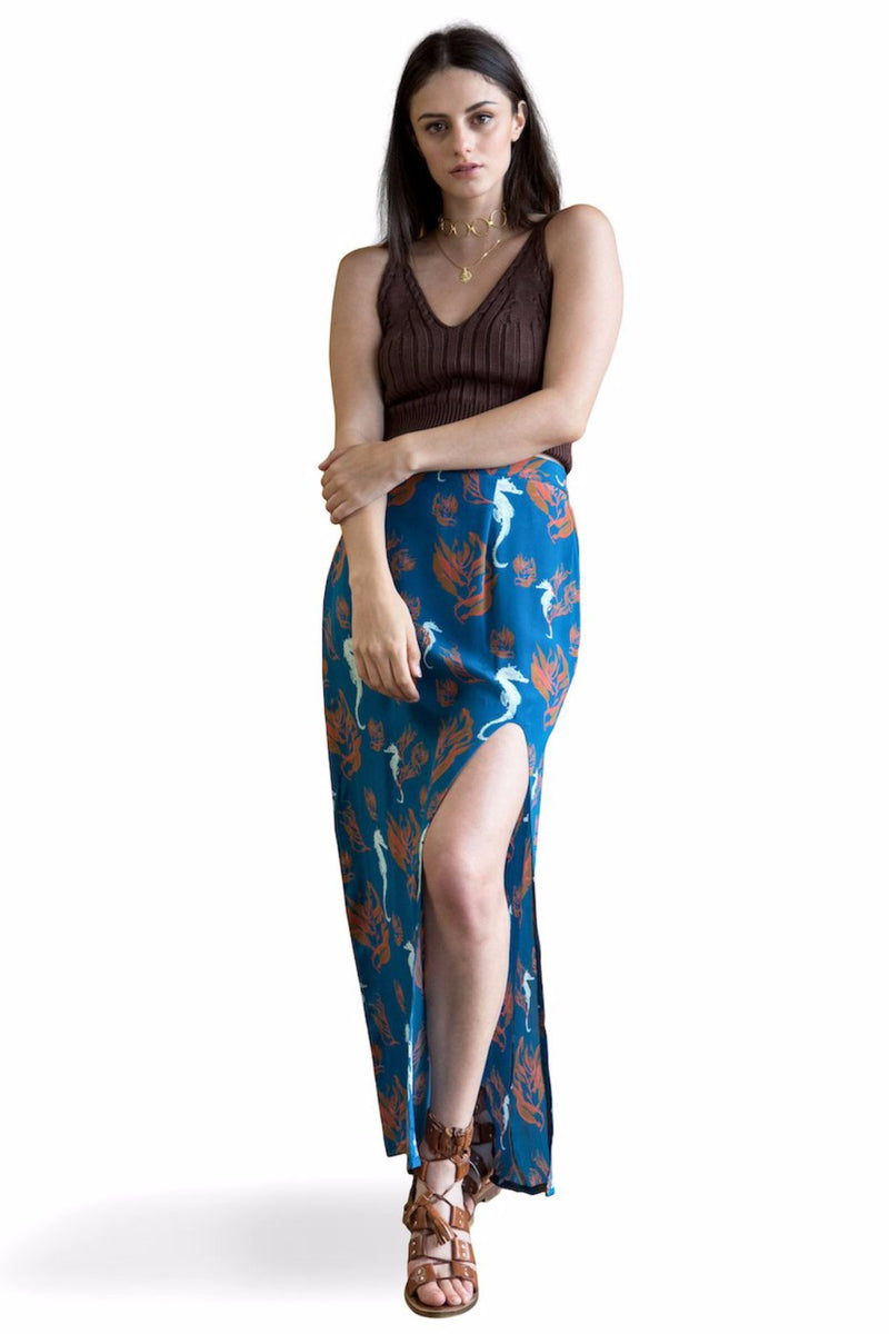 Sea Forest - High slit silk skirt