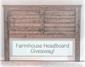 Farmhouse Headboard Giveaway Contest | King Size | Espresso Color | Hand-Crafted by Overlin Designs | Charlotte, NC