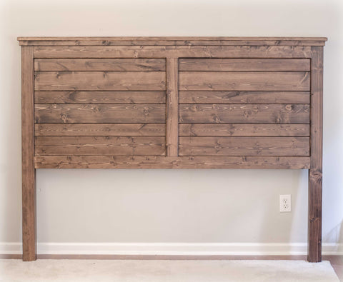 King Size Farmhouse Headboard | Espresso Stain | Matte Polyurethane | Handcrafted by Overlin Designs in Charlotte, NC