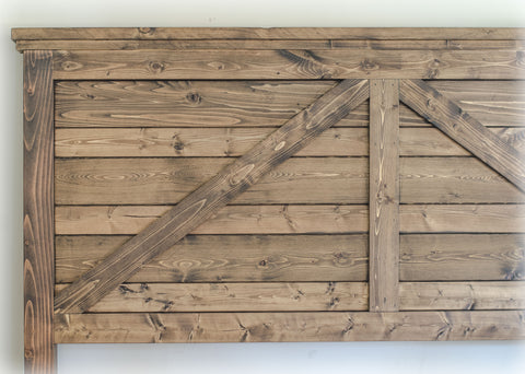 Barn-Style Farmhouse Headboard handcrafted by Overlin Designs in Charlotte, NC