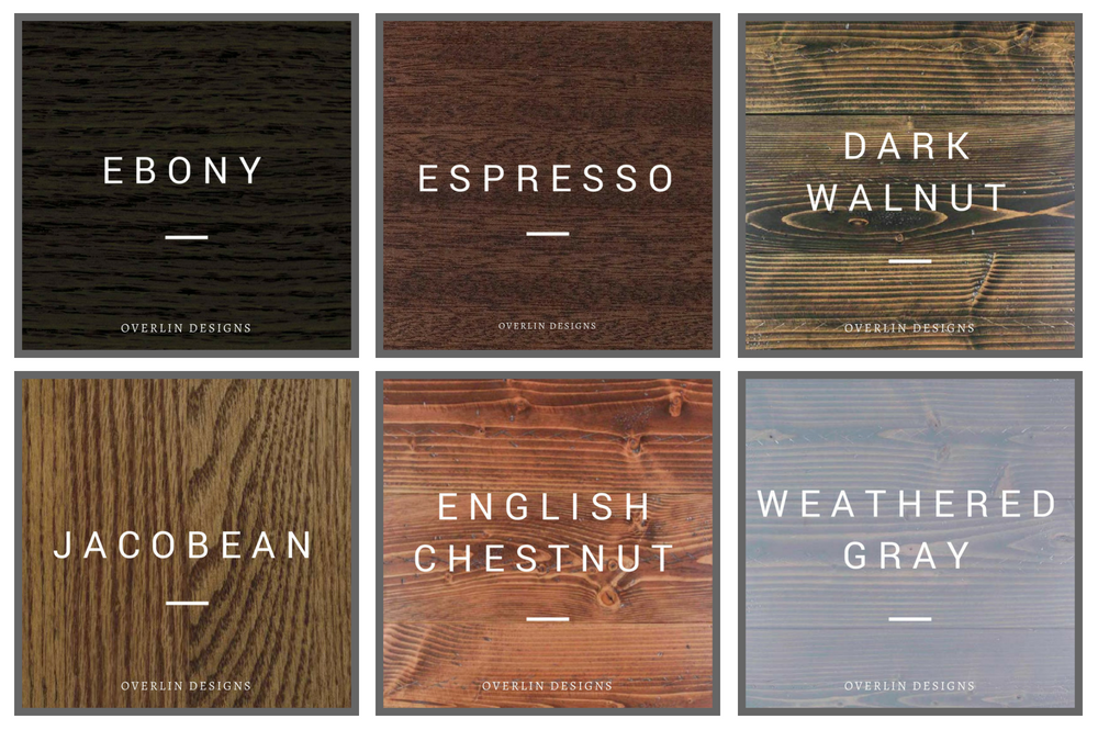 Stain Color Chart - Jacobean - Espresso - Dark Walnut - Ebony - English Chestnut - Weathered Gray