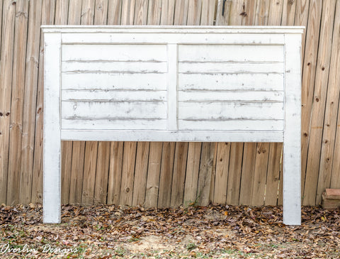 White-Distressed King Size Farmhouse Headboard | Handmade by Overlin Designs | Charlotte, NC