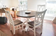 round farmhouse table and x chairs