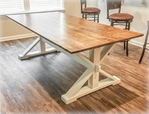 MODERN FARMHOUSE TRESTLE-STYLE FARM TABLE | HANDMADE BY OVERLIN DESIGNS | CHARLOTTE, NC