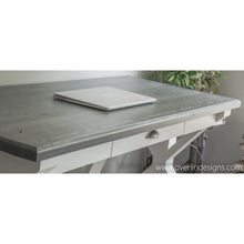 trestle style farmhouse desk with carbon gray top and alabaster white bottom - laptop on desktop - functional drawer for storage - handcrafted, handmade by overlin designs
